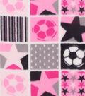 Anti-Pill Fleece Fabric 59\u0022-Pink Patchwork Soccer