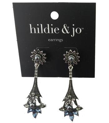 hildie & jo 2.38''x0.75'' Flower Drop Silver Earrings