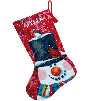 "Snowman&Friends Stocking Needlepoint Kit-16"" Long In Wool&Floss"