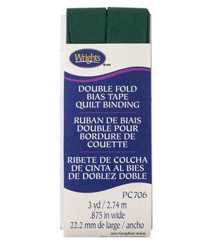 Wrights Double Fold Quilt Binding Bias Tape 7/8''x3 yds-Hunter