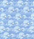 Nursery Cotton Fabric -Whales