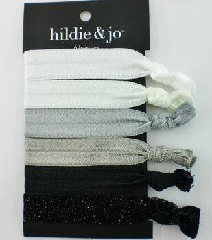 hildie & jo 6 pk Polyester Hair Ties-Gray Tones