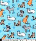 Snuggle Flannel Fabric 42\u0022-Kitty Friends Blue