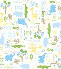 Snuggle Flannel Print Fabric -Little Boy Animal Scene