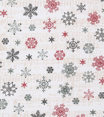 Christmas Cotton Fabric-Snowflake Sheet Music