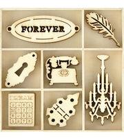 Kaisercraft Themed Mini Wooden Flourishes 35/Pkg-Trinkets, , hi-res