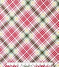 Doodles Christmas Interlock Cotton Fabric 57\u0022-Snowflake Plaid