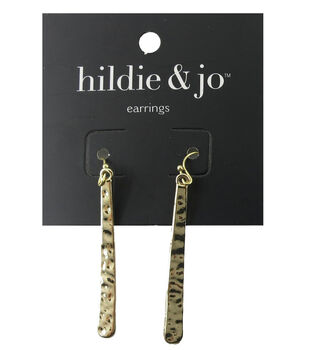 hildie & jo 1.88''x0.25'' Hammered Gold Earrings