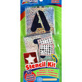 Letters, Numbers & Shapes Stencil Kit-60 Reusable Stencils + Stencil Brush