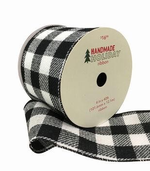 Handmade Holiday Christmas Flannel Ribbon 4''x40'-Black & White Checks