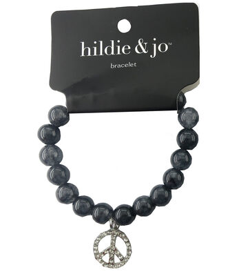 hildie & jo Beads Stretch Bracelet-Gray with Silver Peace Charm
