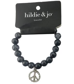 hildie & jo Beads Stretch Bracelet-Gray with Silver Peace Charm