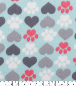 Blizzard Fleece Fabric-Heart & Paws on Aqua