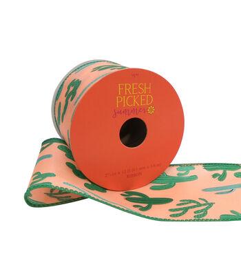 "Fresh Picked Summer Printed Ribbon 2.5""x12'-Peach"