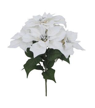 Handmade Holiday Christmas Water Resistant Poinsettia Bush-White
