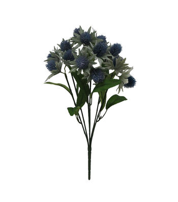 Fresh Picked Spring 16.5'' Thistle Bush-Blue