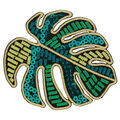 Simplicity Embroidered & Sequined Leaf Iron-on Applique-Green