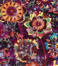 Modern Premium Cotton Print Fabric 43\u0027\u0027-Dark & Metallic Modern Flowers