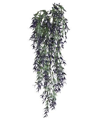 Fresh Picked Spring 37'' Mini Leaf Hanging Bush-Dark Purple