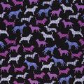 Novelty Cotton Fabric-Patterned Purple Dogs on Black
