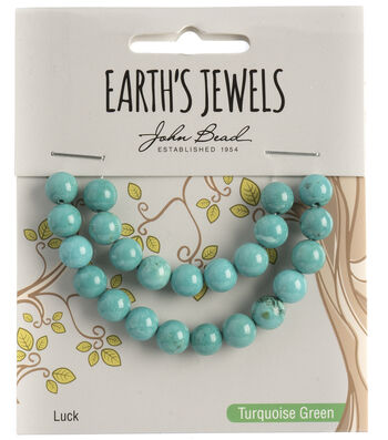 Earth's Jewels Semi-Precious Round 8mm Beads-Turquoise Green