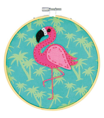 Dimensions Learn-A-Craft Felt Applique Stitch Kit-Flamingo