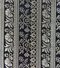 Brocade Fabric-Floral Stripe Royal & Navy