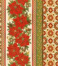Christmas Cotton Fabric-Poinsettias & Holiday Stripes