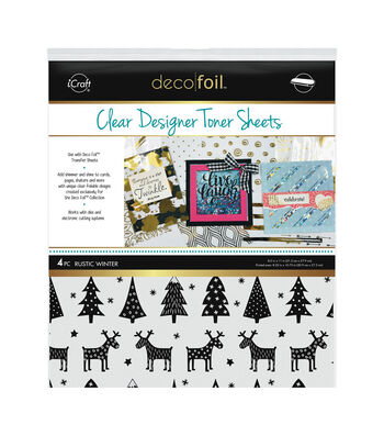 """Deco Foil Clear Toner Sheets 8.5""""X11"""" 4/Pkg-Rustic Winter"""