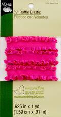 Dritz 5/8\u0022  Ruffle Elastic Neon Pink 1 Yard