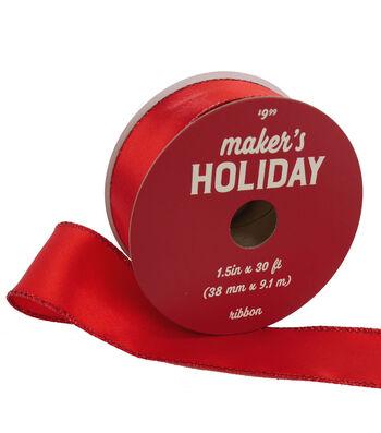 Maker's Holiday Christmas Satin Ribbon 1.5''x30'-Red