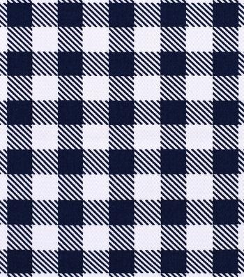 Sportswear Stretch Twill Fabric 57''-Navy & White Gingham