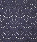 Scallop Cotton Eyelet Fabric-Eclipse
