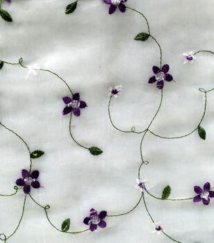 Sew Sweet Organza Fabric 49''-Purple Embellished Floral