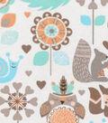 Snuggle Flannel Fabric 42\u0022-Neutral Woodland Friends