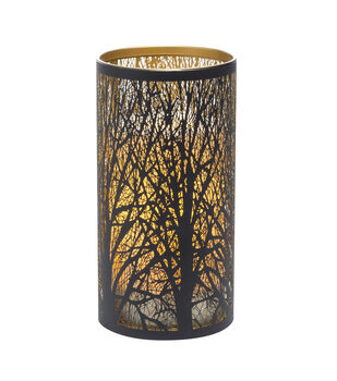 Hudson 43 Candle & Light Collection 3X7 Black Tree Laser Etched Metal