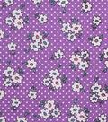 1930\u0027s Cotton Fabric 43\u0027\u0027-Simple Flower & Dots on Purple