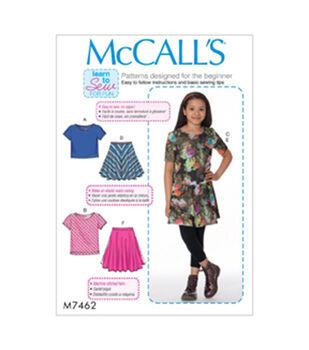 McCall's Pattern M7462 Girls'/Girls' Plus Knit Tops & Flared Skirts