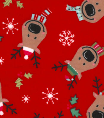 "Snuggle Flannel Fabric 42""-Reindeer On Red Flannel"