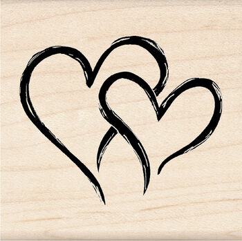 Inkadinkado Mounted Rubber Stamp-Two Hearts In One