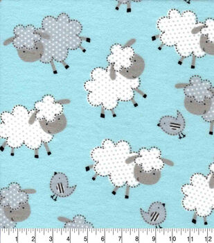 Snuggle Flannel Fabric-Sheepie on Blue