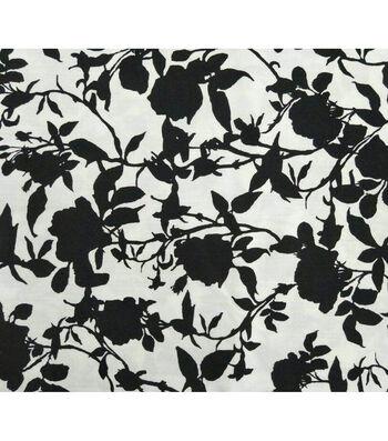 Amaretto Linen Fabric -Black Flowers on White
