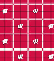 """University of Wisconsin Badgers Flannel Fabric 42""""-Plaid, , hi-res"""