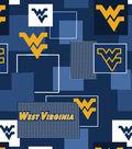 West Virginia University Mountaineers Cotton Fabric -Modern Block