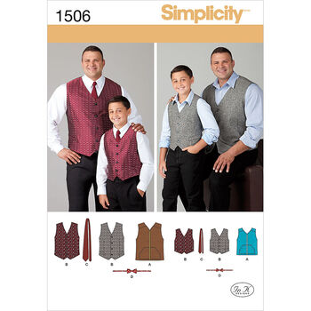Simplicity Pattern 1506A S - L / 1X-Men Boy Tops Vests