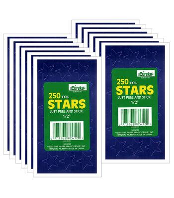 "1/2"" Blue Presto-Stick Foil Star Stickers 12 Packs"