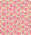 Quilter\u0027s Showcase Cotton Fabric -Pink & Kiwi Floral Burst
