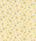 Christmas Cotton Fabric 44\u0022-Snowflakes Glitter Scroll Cream