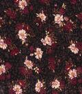 Vintage Cotton Fabric 43\u0027\u0027-Floral Bouquet on Black