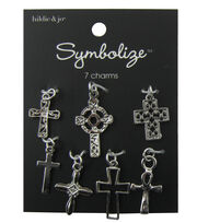 hildie & jo Symbolize 7 Pack Crosses Silver Charms, , hi-res